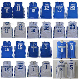 2019 camisas de basquete azul Kentucky Wildcats Jersey College Basquete Devin Booker John Wall Anthony Davis Cidades de Karl-Anthony DeMarcus Primos Malik Monk Fox Blue Men camisas de basquete azul barato