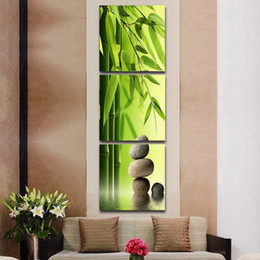 2019 pintura de bambú enmarcada 3 piezas de bambú y piedra Bodegón HD Impresiones de lienzos impresos Pintura Wall Pictures For Living Room Wall Art Sin marco pintura de bambú enmarcada baratos