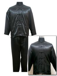 Wholesale Novelty Sleepwear - Black Chinese Style Men's Satin Pajamas Set Novelty Button Pyjamas Suit Casual Sleepwear Long Sleeve Shirt&Pant S M L XL XXL