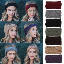 вязание крючком широкая лента Скидка Winter Solid Headband For Women Knit Warm Woolen Crochet Turban Hairband Handmade Bow Knot Wide Hair Accessories