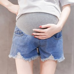 58f49a960e5c6 Summer Fashion Thin Denim Maternity Shorts Elastic Waist Belly Short Jeans  Clothes for Pregnant Women Pregnancy Bottoms on sale