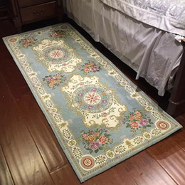 Vestido jacquard amarillo online-Alfombra de cama floral retro clásica de gran tamaño, alfombra de vestidor, alfombrilla de estilo persa, alfombra de galería cuadrada estrecha