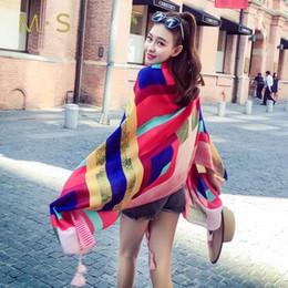 Calavera de tela de seda online-MS 2018 verano playa bufanda de viaje mujeres chal geometría imitación tela de seda sombrilla borlas gran tamaño cráneo chales para mujeres