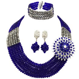 Commercio all'ingrosso 12 pz Royal Blue Silver Bead Multi fili Collana Nigerian Wedding Beads Africani Set di gioielli di cristallo 6-SS32 da