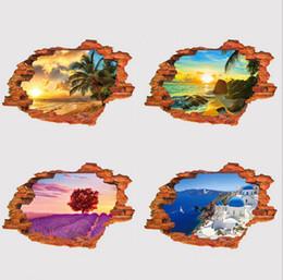 Обои 3D пейзаж стерео стены наклейки личность творческий стены наклейки ПВХ поддельные окна пейзаж стены стикеры от
