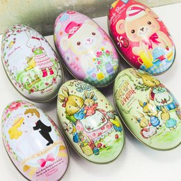 Wholesale bride groom boxes - Easter Egg Shape Candy Boxes Bunny Bear Groom Bride Pattern Organizer Practical Storage Tin Box High Quality 2 3im B