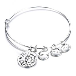 Wholesale Color Metal Bangle - 5 Style Engraved Letters Women Metal Ethnic Silver Color Moon Star Pendant Bracelet Friend Falily Love Pendant Bangle G380S