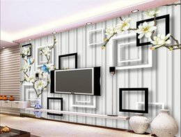 Wholesale Photo Paper Canvas - Custom Photo Wallpaper TV background wallpaper large mural nonwoven fabric wallpaper canvas living room modern Chinese magnolia flower