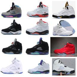 Wholesale Camo Army - 2018 trainer 5 OG Black Metallic Mens Basketball Shoes men camo Oreo bel air metallic black white grape 5s sports shoes sneakers