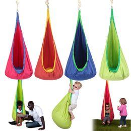 Wholesale garden furniture swings - Children Hammock Inflatable Cushion Garden Swing Chair Indoor Outdoor Hanging Seat Child Swing Seat Patio Hammock Furniture DDA505