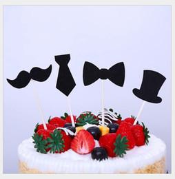 Ragazzi di dolciumi per bambini online-Little Man Cupcake Toppers Baffi Papillon Cake Topper Boy Festa di compleanno Baby Shower Gender Reveal decorazione torta
