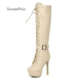 Wholesale White Sexy Platform Knee Boots - Women Side Zipper Platform Lace Up Buckle High Heel Knee Boots Sexy Thin High Heel Winter Shoes Brown White Beige Black