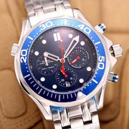Wholesale Dive Sapphire - Luxury dive chronograph 007 blue Mens Watch Professional Planet Ocean Co-Axial Dive Wristwatch Men High-quality Six pointer male Watches