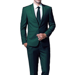 royal blue tuxedos for prom Promo Codes - Dark Green Evening Party Men Suits for Wedding Prom Wear 2018 Two Piece Jacket Pants Trim Fit Custom Made Wedding Groom Tuxedos