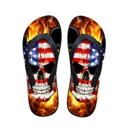 Wholesale T Back For Men - Wholesale-3D PUNK Skull Print Summer Slippers For Men Casual Shoes Men's Beach Flip Flops Outdoor Flat Sandals Sapatos Femininos Sandal