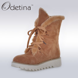 Botas de invierno ata hasta la piel online-Odetina Brown Womens Suede Fur Botas forradas antideslizantes 2016 Winter Women Botines Lace Up Platform Plush Snow Large Size