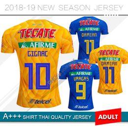3b1437121 New 2019 Tiger Home Yellow Soccer Jersey 2018 Tigres Gignac UANL Away Blue  Soccer Shirt 18 19 Mexico Club Football Uniform size S-2XL discount jersey  soccer ...