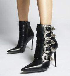 botas de hebilla vintage Rebajas Nuevos botines de cuero negro de lujo con estilo mujeres hebilla correa estilete botines Martin barcos punta estrecha botas vintage