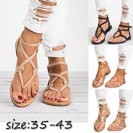 Wholesale plus size ladies thongs - 2018 Women's Fashion Thong Sandals Ladies Plus Size Herringbone Sandals Female Buckle Strap Flat Sandal Women Summer Shoes