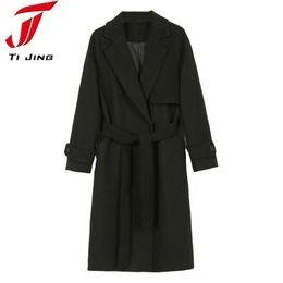 Wholesale Women Winter Coats Uk - UK 2017 Fall Winter Women Simple Cashmere Maxi Long belt Robe Coat Female Woolen Outerwear manteau femme abrigos mujer L371