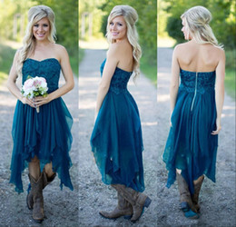Wholesale Hot Pink Strapless Bridesmaid Dresses - Country Bridesmaid Dresses 2017 Short Hot Cheap For Wedding Teal Chiffon Beach Lace High Low Ruffles Party Maid Honor Gowns Under 100