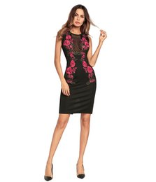 Mulheres bodycon vestidos de verão floral rosa bordado oco out party sexy dress lápis vestidos roupas de