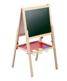 Cavalete de madeira on-line-2 em 1 crianças em pé arte cavalete de madeira placa de desenho de giz duplo lado 46