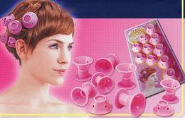 Pinzas para el cabello de silicona al por mayor online-10 UNIDS Silicona Sin Clip Rosa Rizadores de Pelo Rodillos DIY Magia Espiral Curling Iron Wand Curl Styler Herramientas de Cuidado del Cabello al por mayor