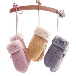 Wholesale Neck Hanged Females - [TIMESWOOD] Coral Fleece Liner Suede Gloves Neck Hanging Cute Female Mittens Winter Keep Warm For Women One Size Thicken Style
