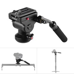 rail caméscope Promotion Andoer Hydraulique Panoramique Rotule Action Action Fluide Drag Pan Têtes De Trépied pour Canon Nikon Sony DSLR Caméra Camescope Slider Rail