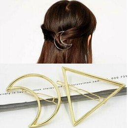 Wholesale Wedding Bangs - 2016 Simple Fashion Women Gold Silver Metal Moon & Triangle Hair Clip Hairpin Bang Hair Pin Hair Jewelry Accessories For Girls