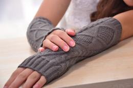 Wholesale check arm - 1 Pair Fashion Autumn Winter Spring Warm Women Ladies Girl Solid Gloves Arm Warmer Long Fingerless Knitting Wool Mittens