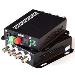Receptor de transmissor de fibra óptica on-line-1 par 2 peças / lote 4 canais de vídeo conversor ótico 4V1D Fiber Optic Transmissor Vídeo Optical Receiver 4CH + RS485 dados