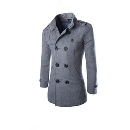 Wholesale Men Double Breasted Coat Sale - hot sale winter mens Business Casual Solid color Wool Blends jacket quality Double-breasted Standing collar coat Windbreaker