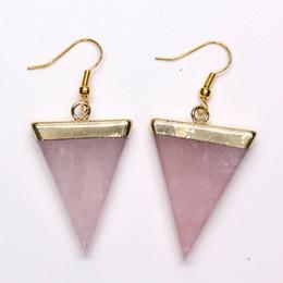 schwarze dreieck perlen Rabatt Kraft-Perlen einfachen Stil hellgelb Gold Farbe Dreieck Rose Pink Quarz baumeln Ohrringe schwarz Achat Opal Schmuck