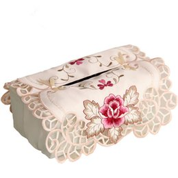 Wholesale garden sets sale - Sale!! European Garden embroidery tissue box cover cloth towel sets vehicle paper box covers Cutwork Pumping Napkin Cover