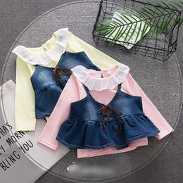 Wholesale Dress Up Set Kids - Toddler kids Spring dress 2018 Baby girls lace-up Bows suspender denim dress+falbala lace lapel T-shirt 2pcs sets Infants clothes C2847