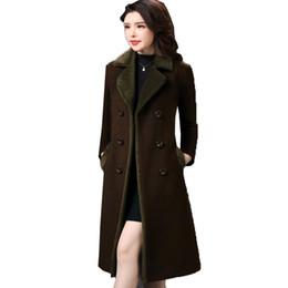 Wholesale Korean Women Xs Wool Coat - Women Winter Warm Coats Korean Fashion Turn-down Collar Long Sleeve Slim Woolen Overcoat Ladies Elegant Long Wool Coat