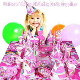 Wholesale plastic birthday cake toppers - 141pcs Unicorn Birthday Party Set Unicorn Favor Supplies Set with Disposable Tableware Cake Toppers, Christmas Toy GGA108 30PCS