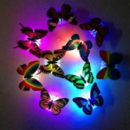 Wholesale Colorful Bedding - 10pcs lot luminous butterfly 5CM kids toys home decoration colorful beautiful creative butterfly night bed lights