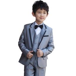 Wholesale Formal Attire - Three Style Grey kids wedding suits Boys Formal Occasion Children Wedding Suit Boys Attire Bespoke Kid Tuxedo
