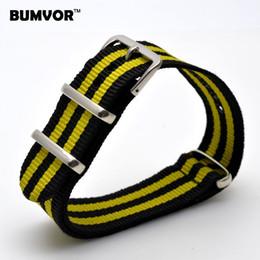 Wholesale Yellow Fabric Belt - New 20 mm Belts Stripe Cambo Navy YELLOW Nato Woven Fiber watchband 20mm Nylon Watch Straps Wristwatch Band Buckle Cheap fabric