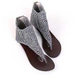 2019 плетеные босоножки Лето 2018 новый кожаный наклонный каблук сандалии, летние сандалии, римские сандалии, ретро toe квартиры, ручной работы обувь скидка плетеные босоножки