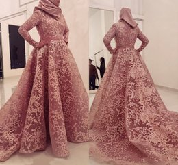 Wholesale formal hijab - Modest Arabic Muslim Long Sleeves Evening Dresses Hijab Pink High Neck A Line Lace Appliqued Formal Occasion Gowns Mother of Bride Dress