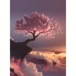 pintura diamante árbol Rebajas Bordado Nuevo 5d Diy Pintura Diamante Hermosa Flor de Cerezo Árbol Punto de Cruz Artesanía Incrustaciones Mosaico Bordado Tela Nuevo 10cq Z