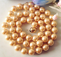 Wholesale South Sea Shell Pearls Wholesale - whole sale2017 New 8mm Yellow South Sea Shell Pearl Necklace Pearl Jewelry Rope Chain Beads Natural Stone 18inch(Minimum Order1)