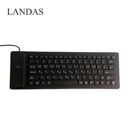 rollen usb Rabatt Landas Portable Silikon Korea Tastatur für Notebook Flexible Roll-up wasserdichte Soft USB koreanische Tastaturen für Desktop-Laptop-PC