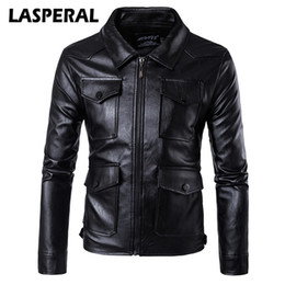 punk rock jackets Coupons - Wholesale- LASPERAL Fashion Men Pu Leather Motorcycle Jacket Coat Winter Autumn Punk Rock Windbreakers Overcoats Male 2017 New 5XL 4XL Z30