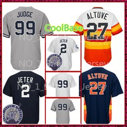 Wholesale 99 free - New York 99 Aaron Judge 2 Houston 27 Jose Altuve Jersey Men's Cheap Baseball Jerseys sales Free Shipping CoolBase