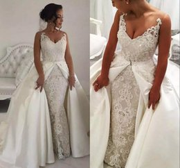 Wholesale Gold Modest Wedding Dresses - Modest Crystals Lace Overskirt A Line Wedding Dresses Sexy V Neck Sleeveless Beaded Appliques 2018 Wedding Bridal Gowns Vestidos Custom Made